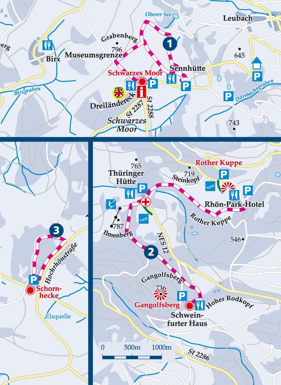 Winterwanderweg 1 Schwarzes Moor Karte