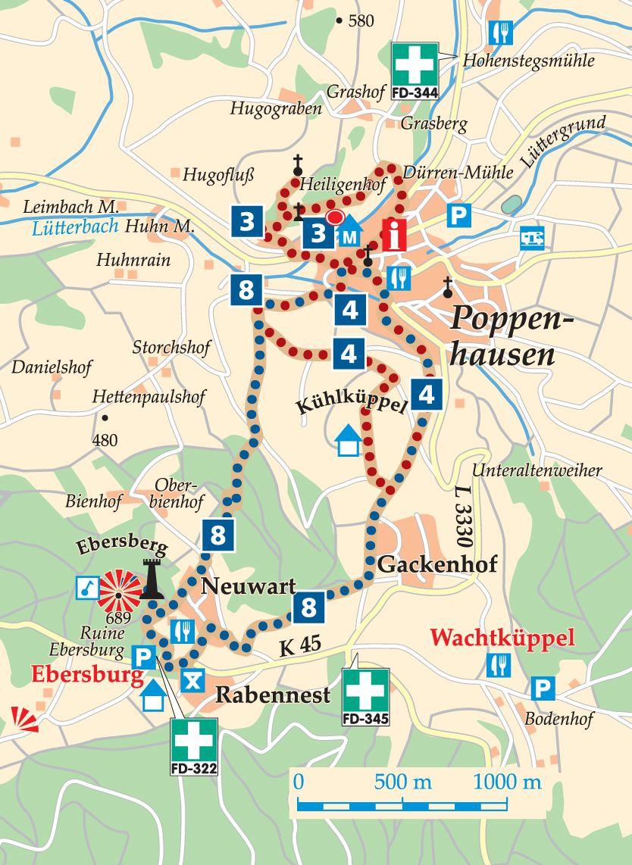 Rhön-Rundweg 3 Poppenhausen Karte