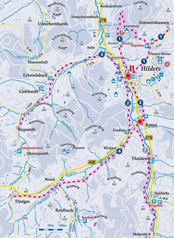Winterwanderweg 1 Gemeindezentrum Hilders Karte