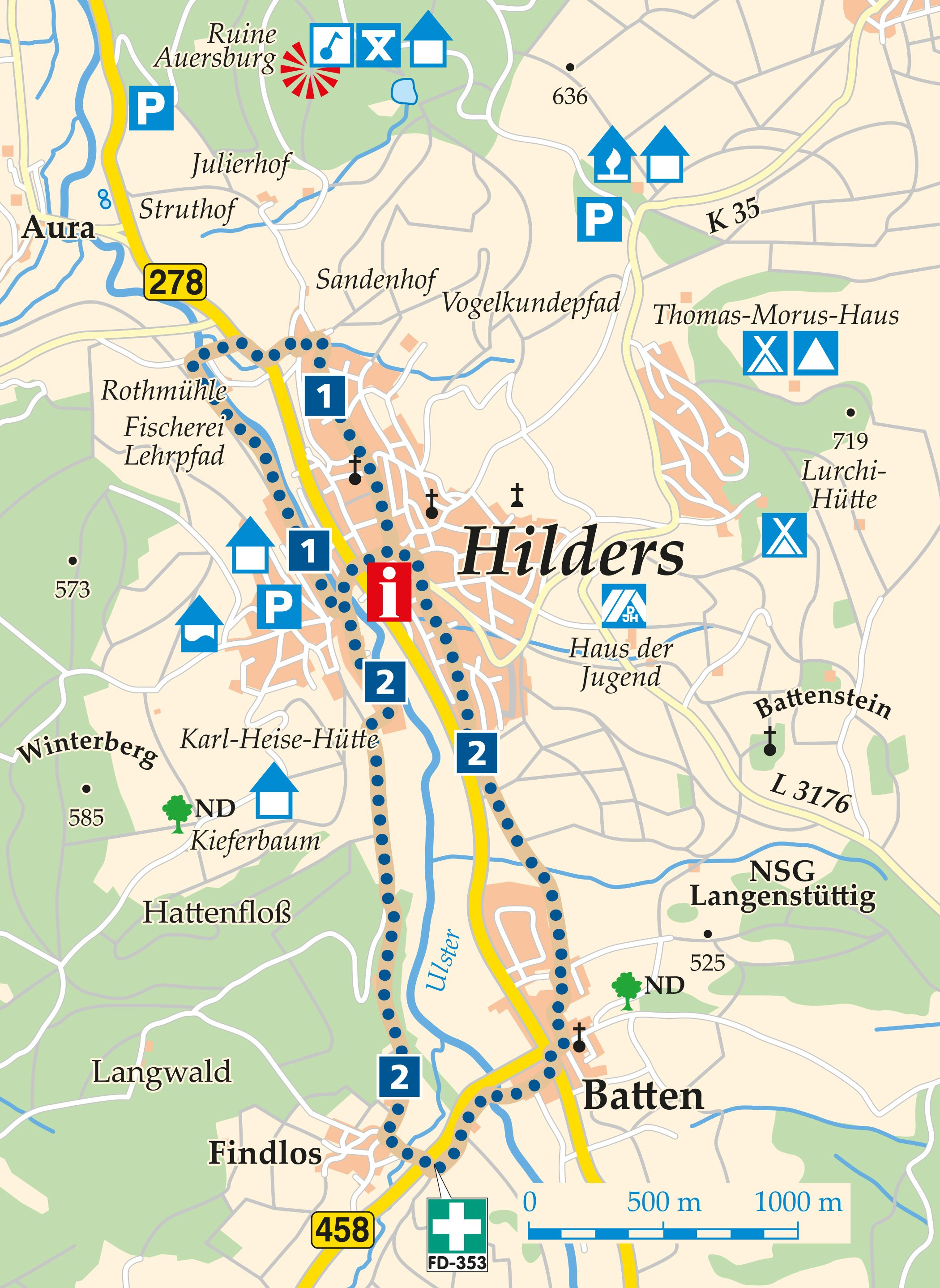 Rhön-Rundweg 1 Hilders Karte