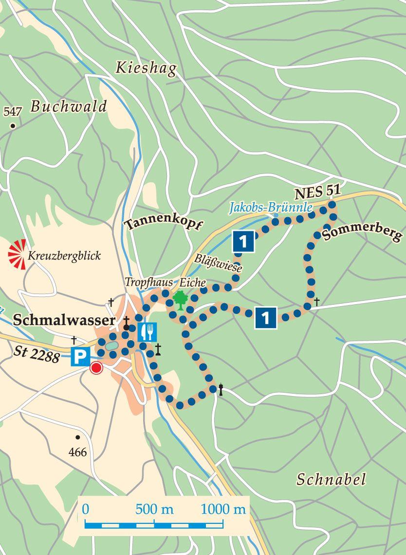 Rhön-Rundweg 1 Walddörfer Karte