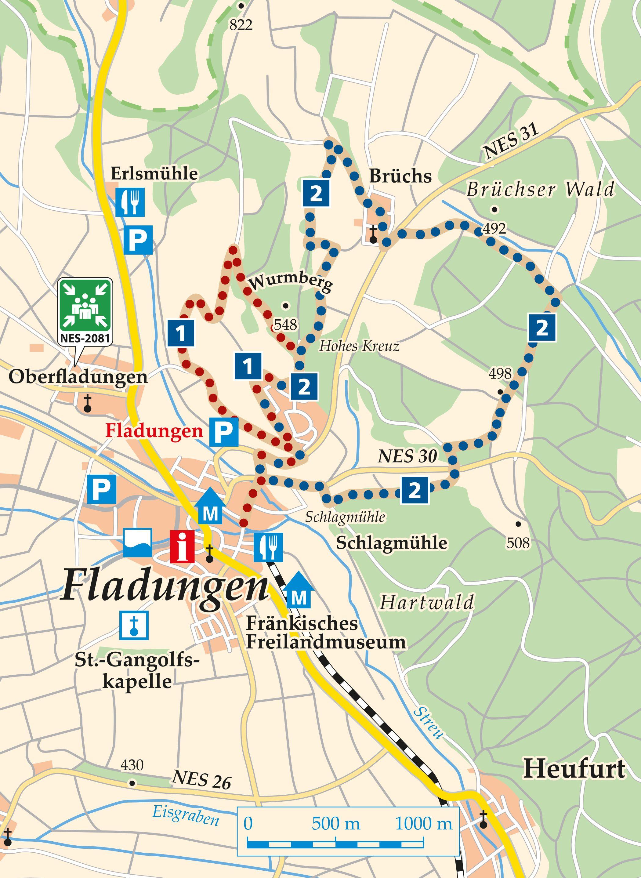Rhön Rundweg 1 Fladungen Karte