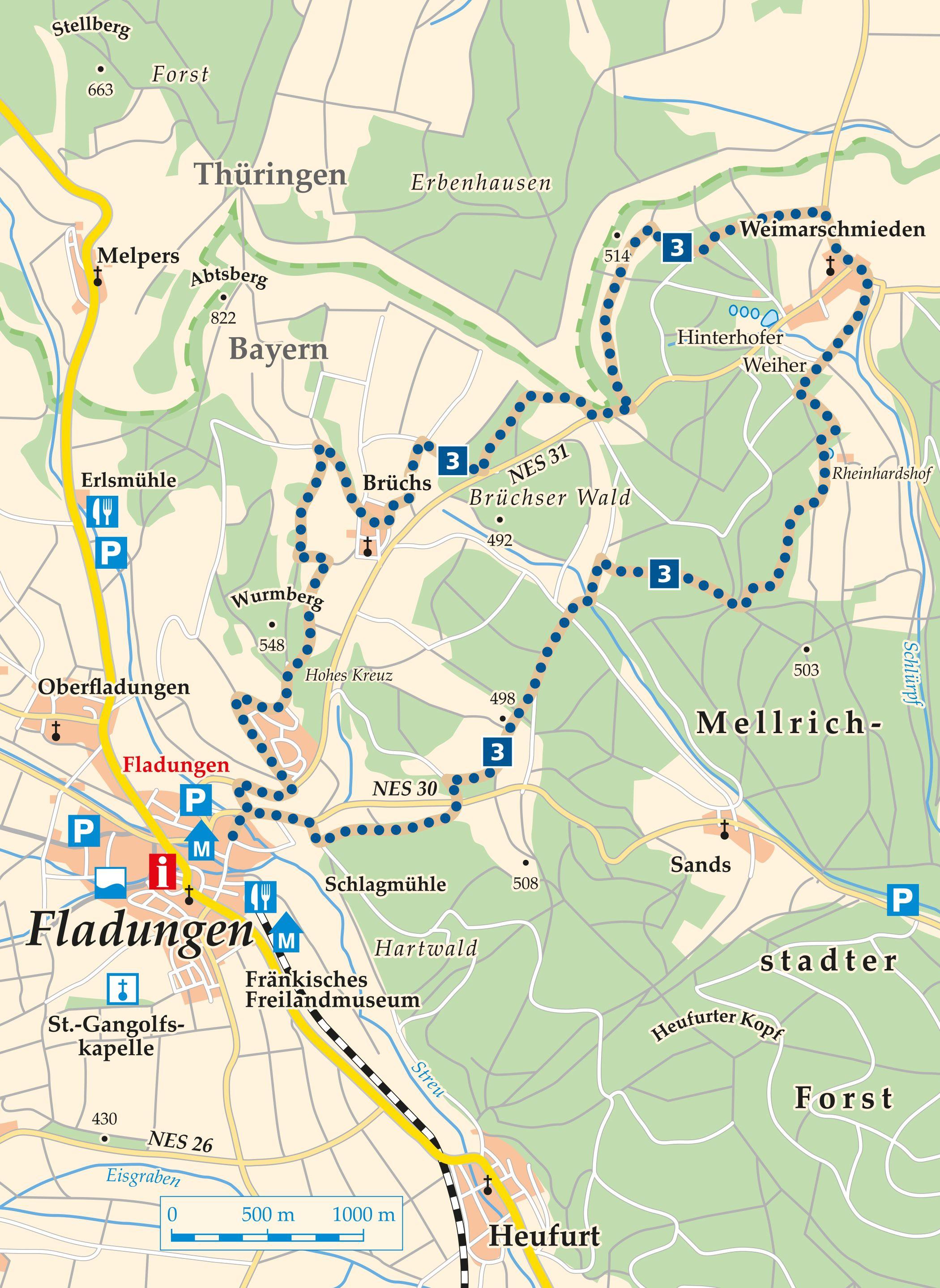 Rhön Rundweg 3 Fladungen - Karte
