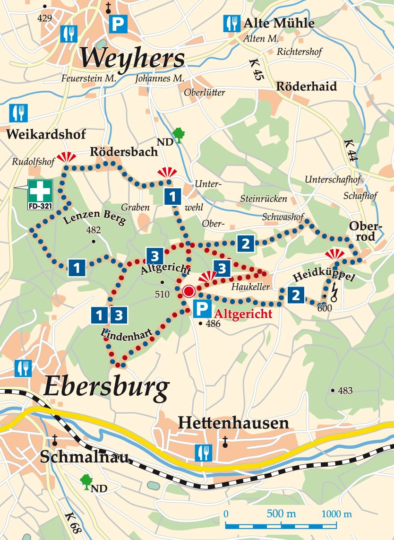 Rhön-Rundweg 1 Altgericht Karte