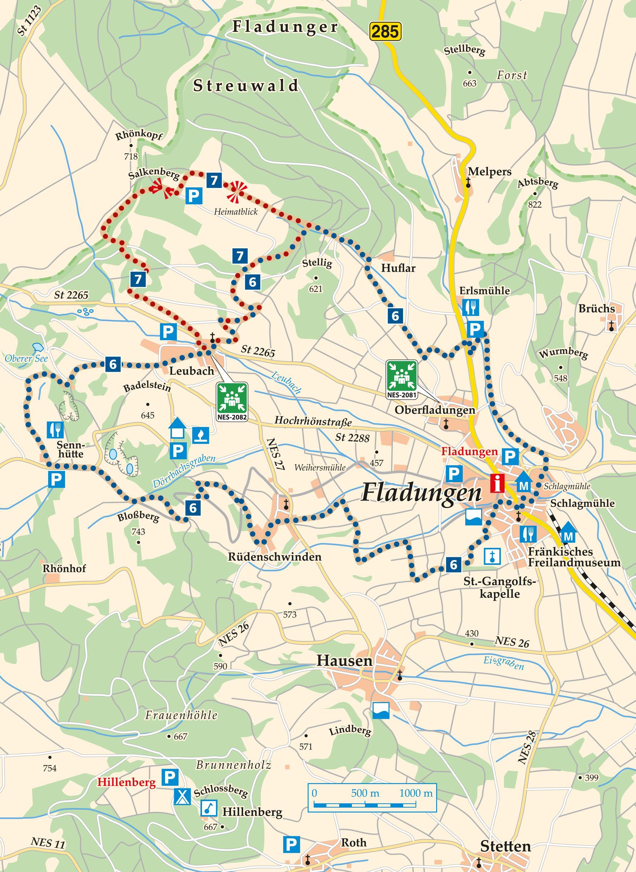 Rhön Rundweg 7 Fladungen - Karte