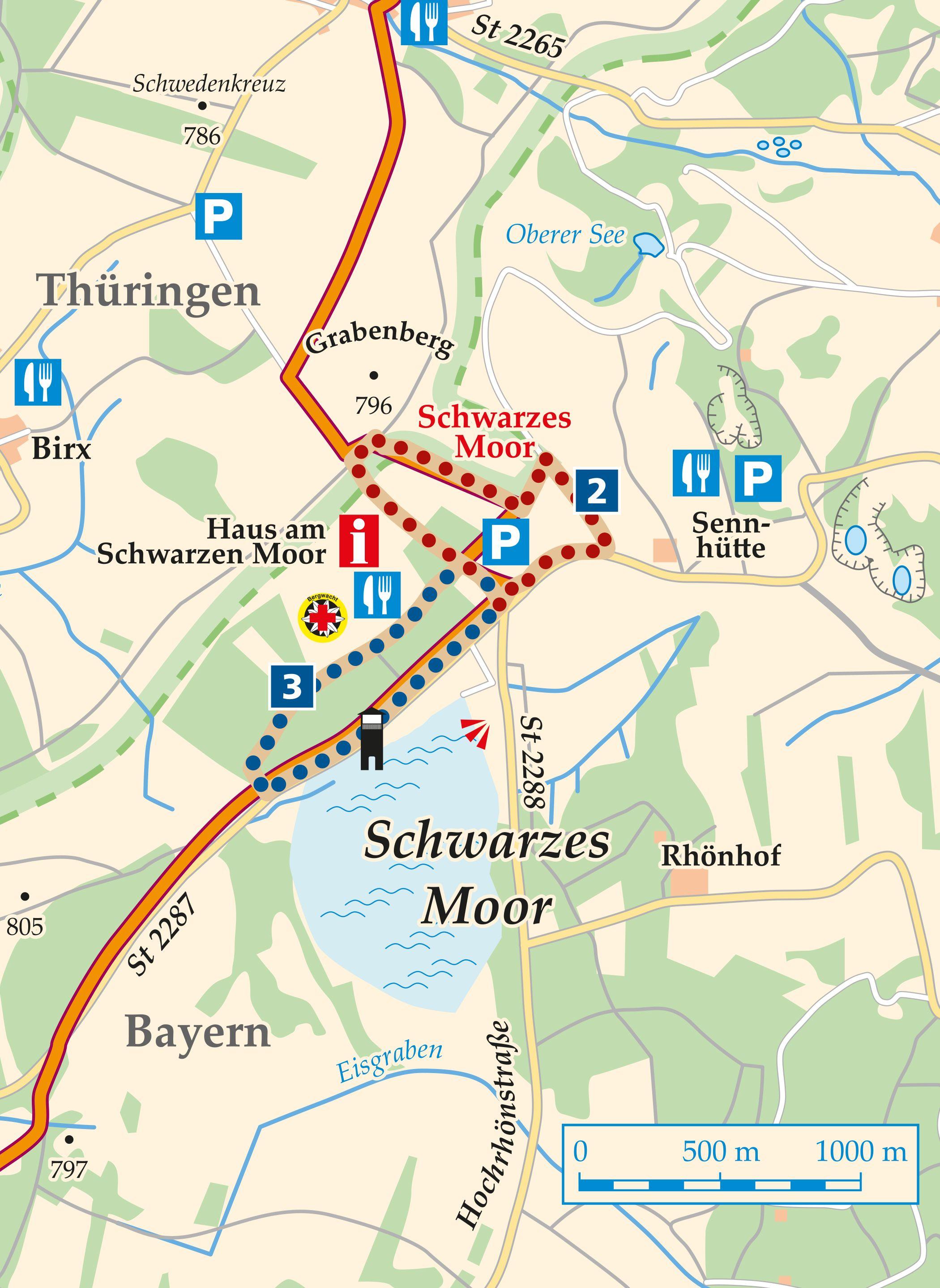 Rhön Rundweg 2 Schwarzes Moor - Karte