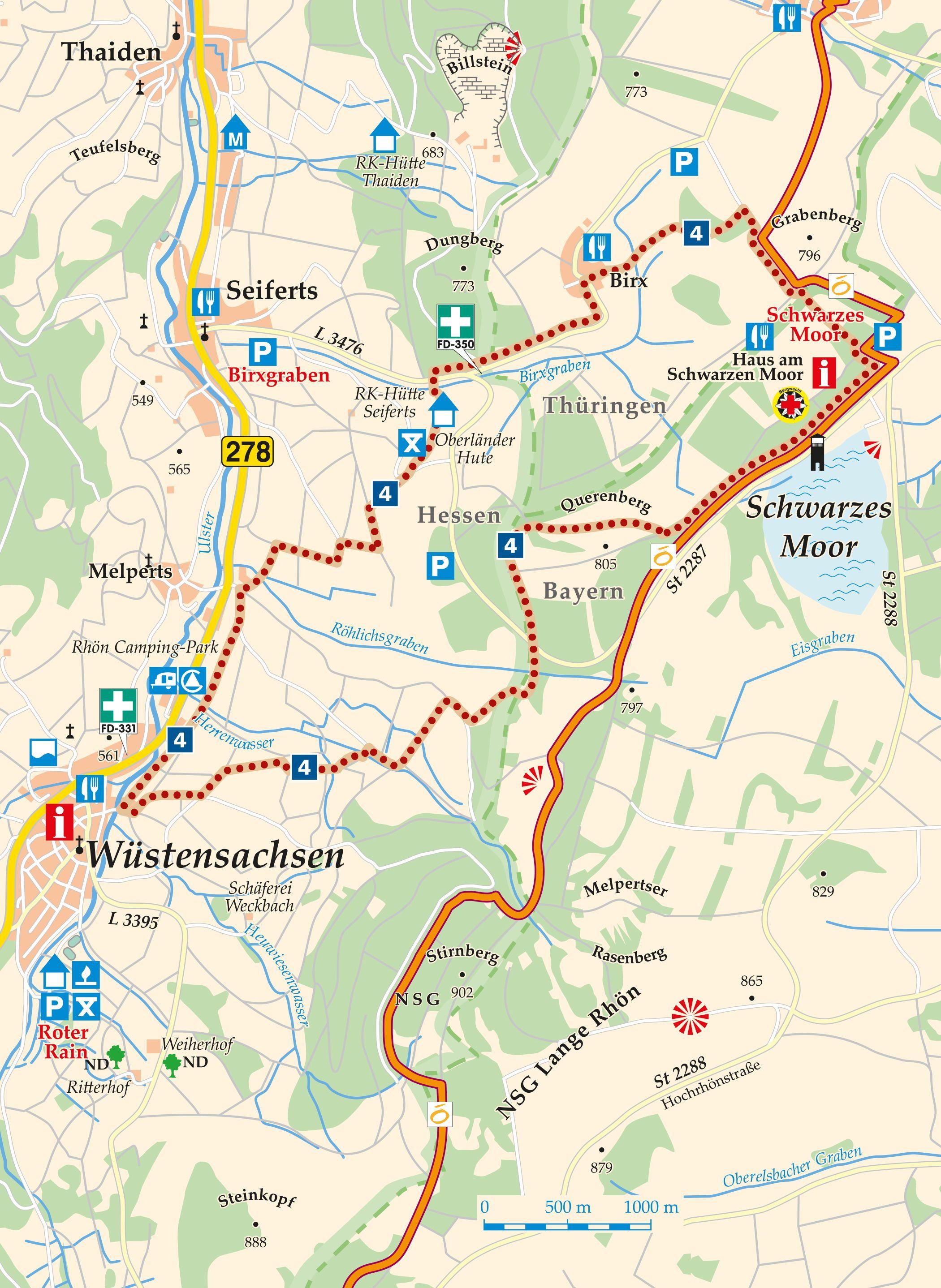 Rhön Rundweg 4 Schwarzes Moor - Karte