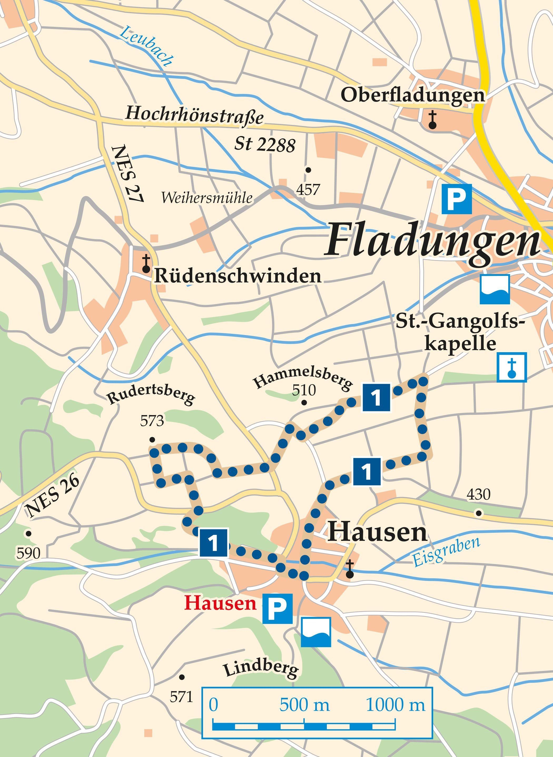 Rhön Rundweg 1 Hausen - Karte
