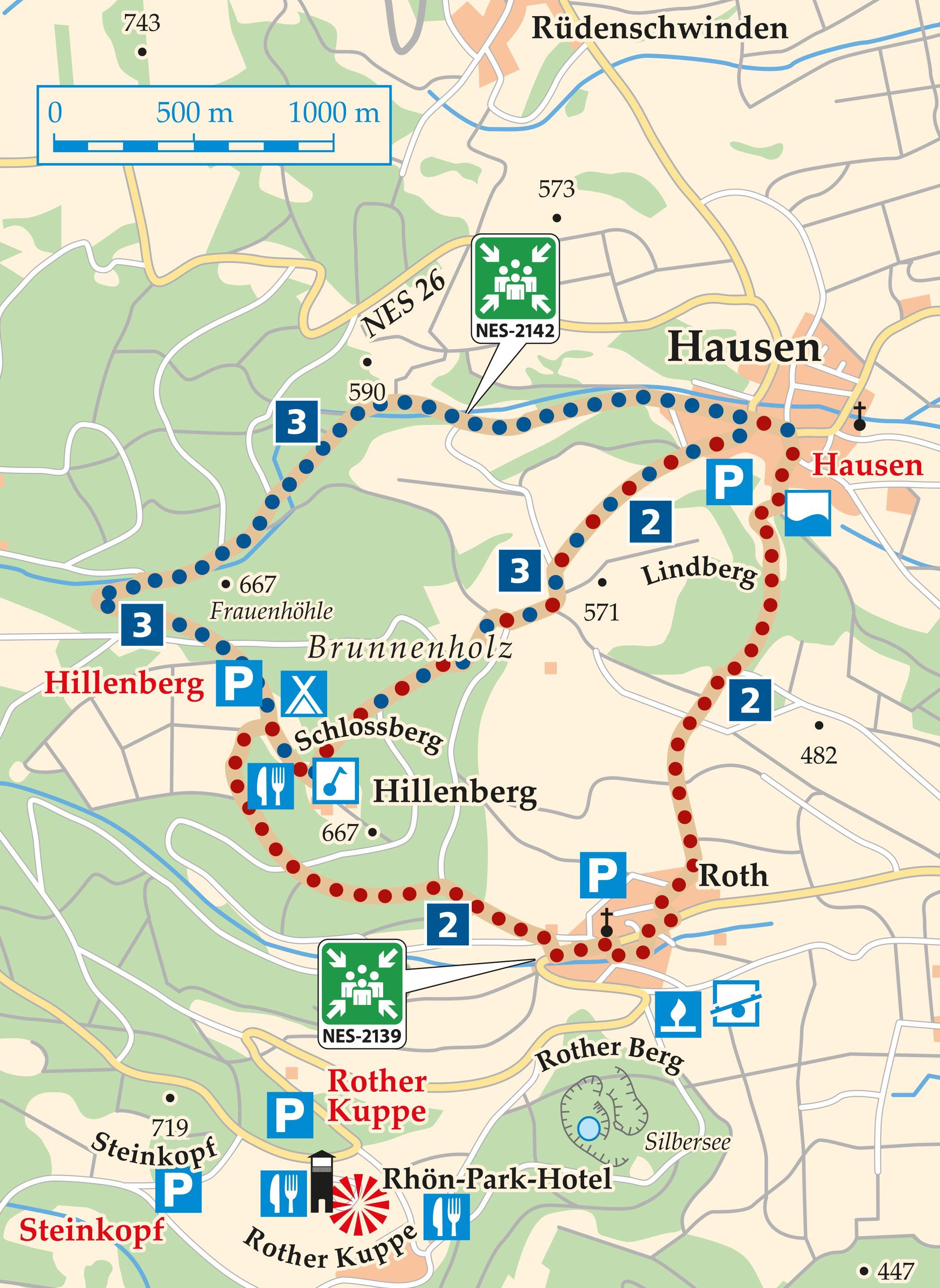 Rhön Rundweg 3 Hausen - Karte