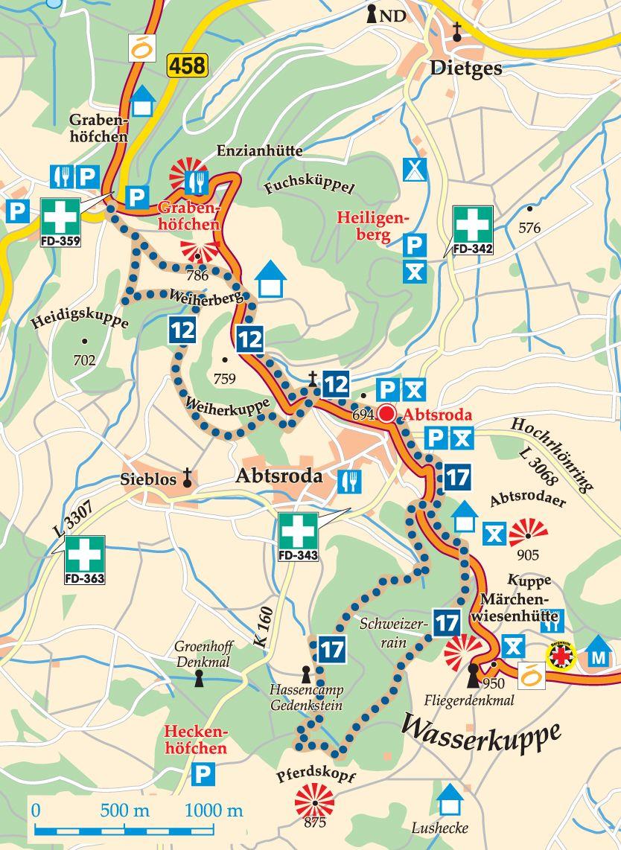 Rhön-Rundweg 12 Abtsroda Karte