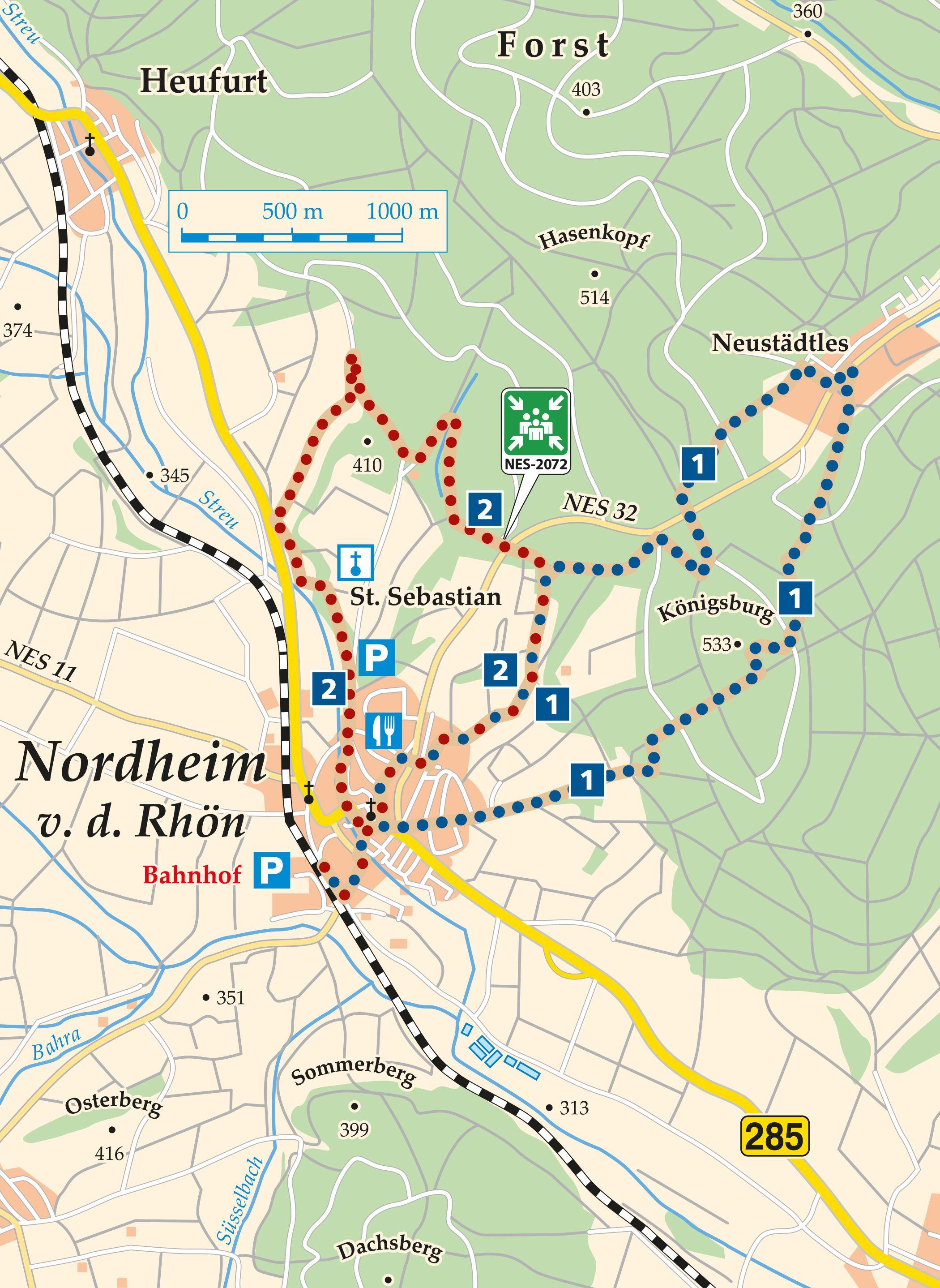 Rhön Rundweg 1 Nordheim v. d. Rhön - Karte
