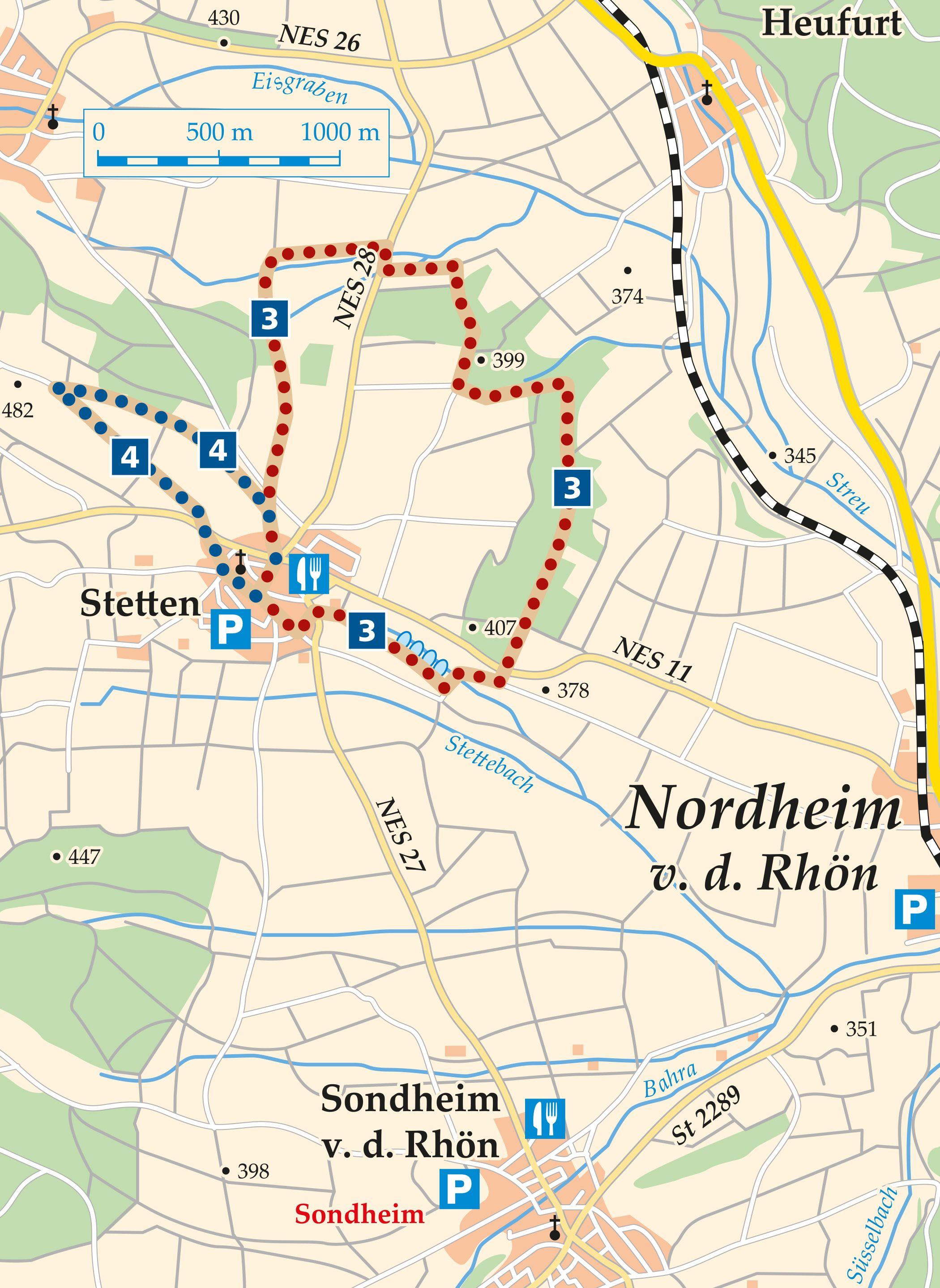 Rhön Rundweg 3 Sondheim v. d. Rhön - Karte