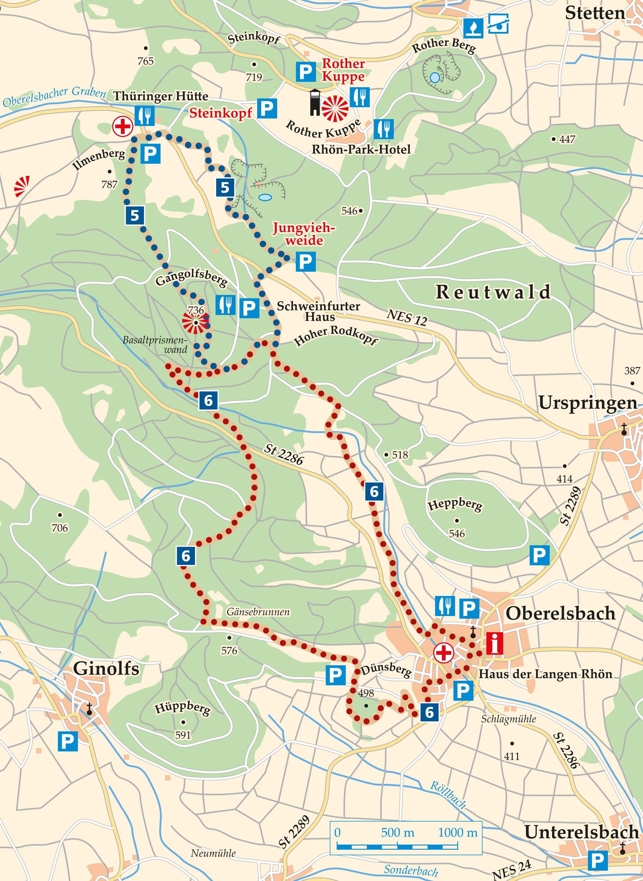 Rhön Rundweg 5 Oberelsbach - Karte