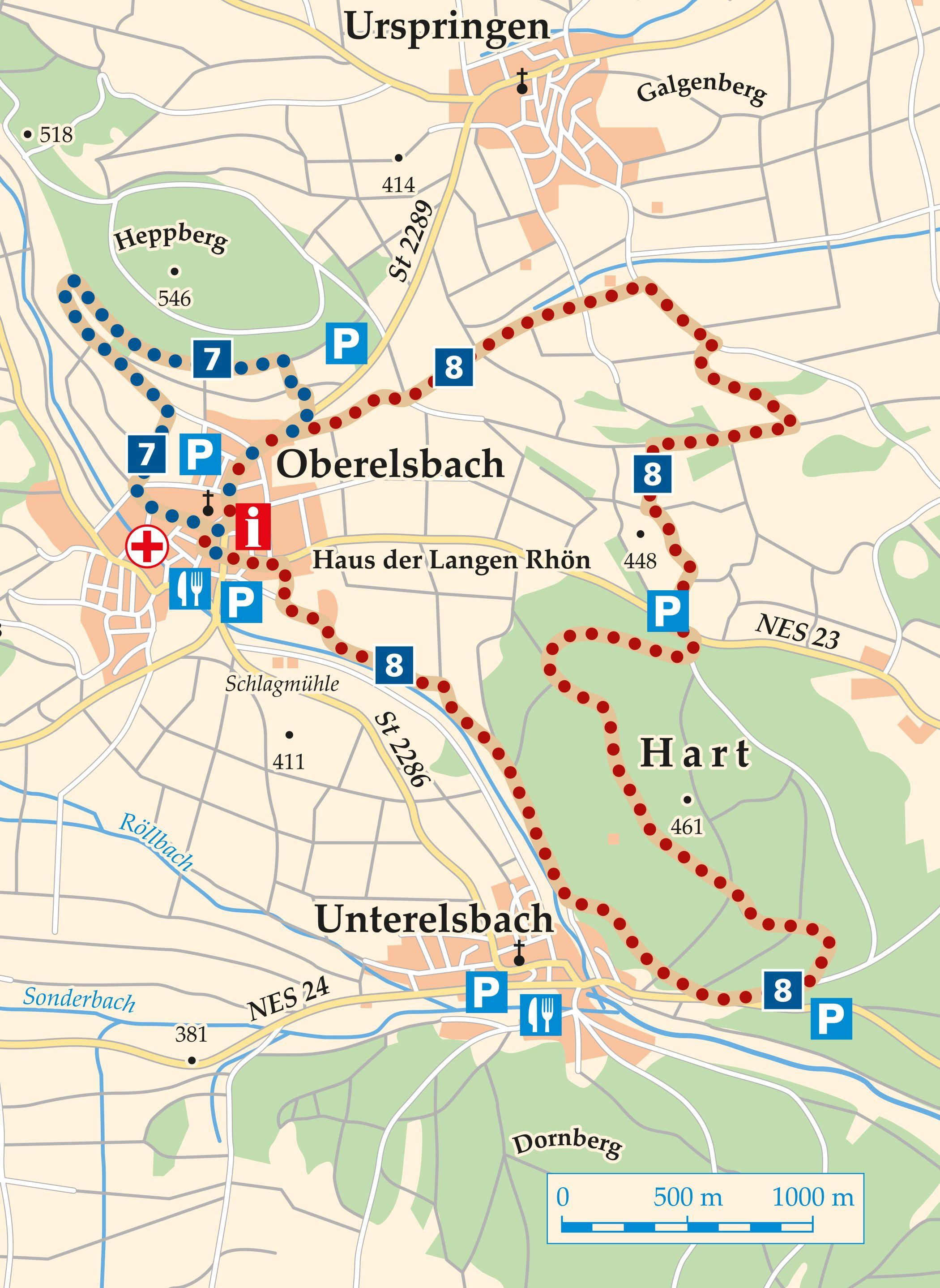 Rhön Rundweg 8 Oberelsbach - Karte