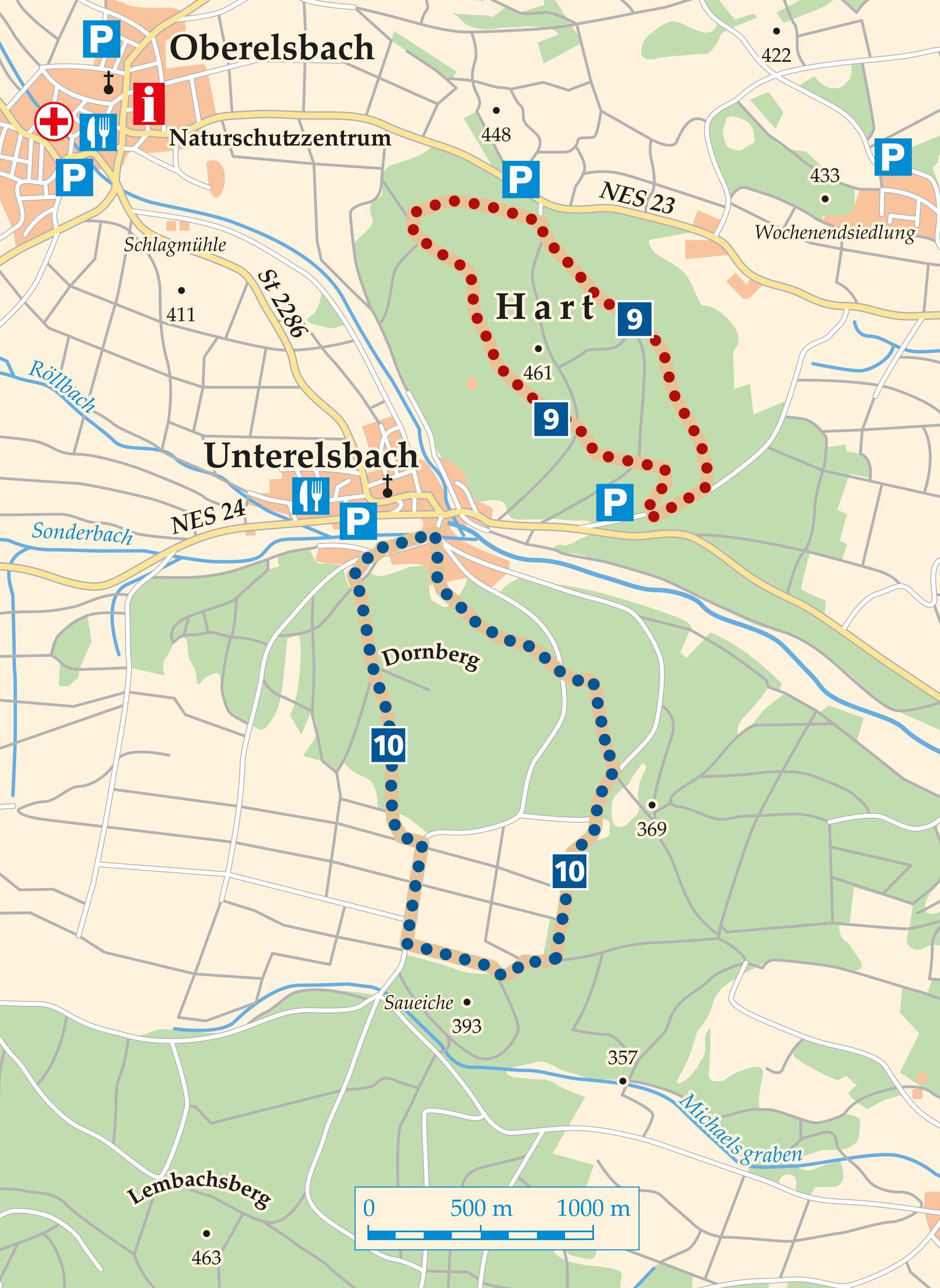 Rhön Rundweg 9 Oberelsbach - Karte