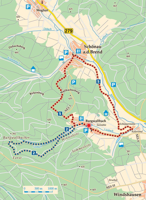 Rhön-Rundweg 5 Schönau an der Brend Karte