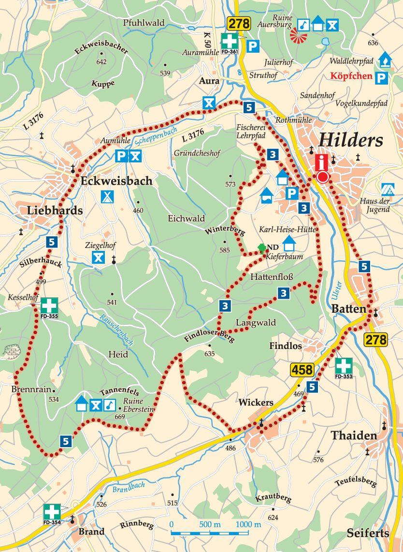 Rhön-Rundweg 5 Hilders Karte