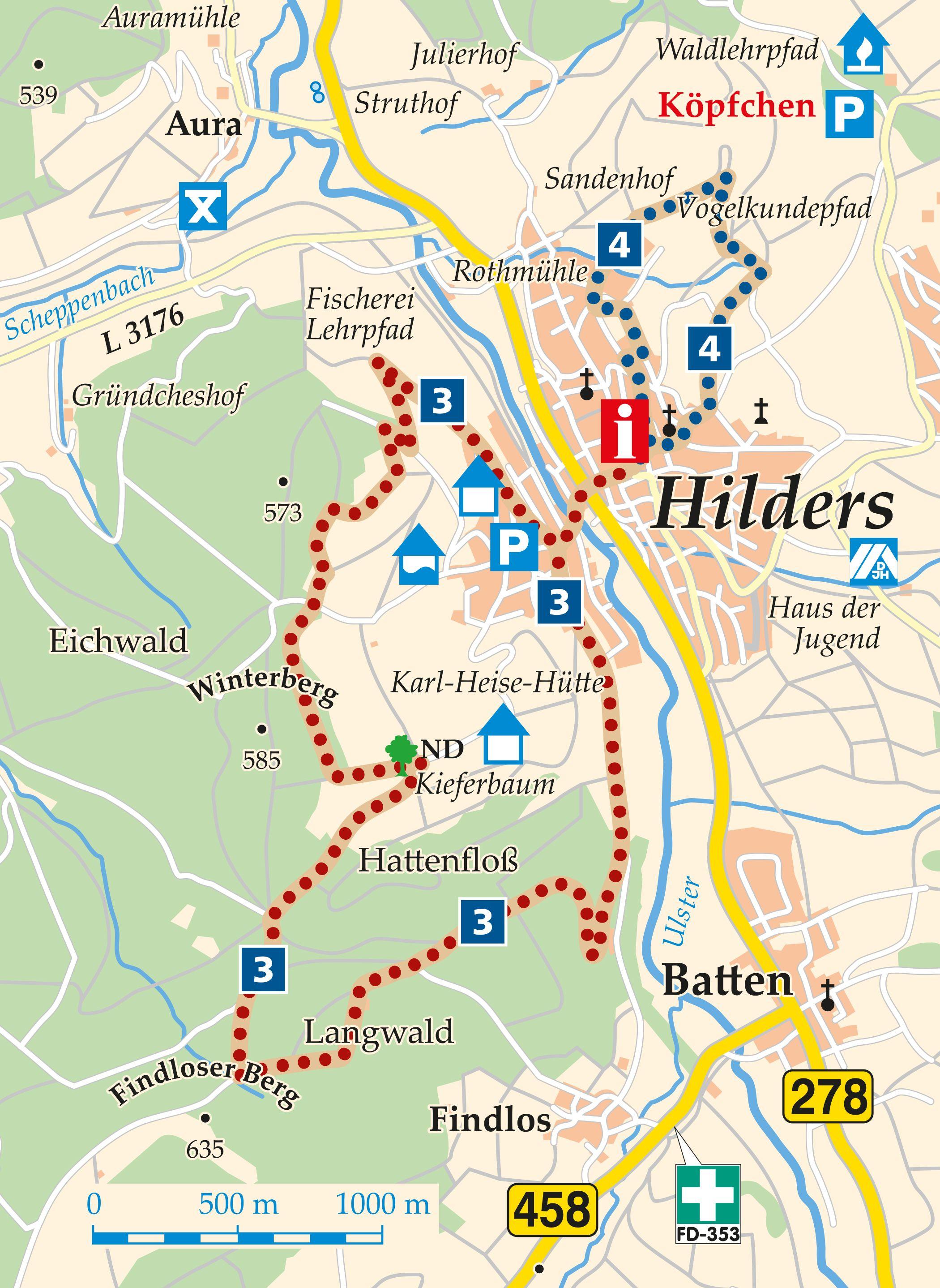 Rhön-Rundweg 3 Hilders Karte
