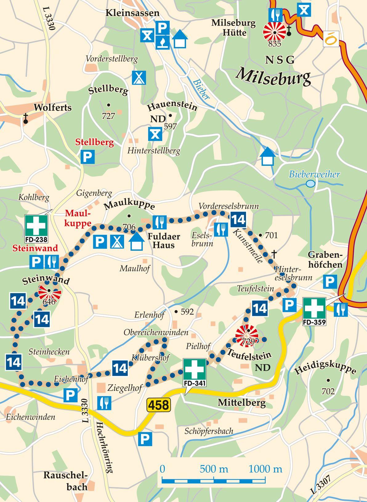 Rhön-Rundweg 14 Ziegelhof Karte