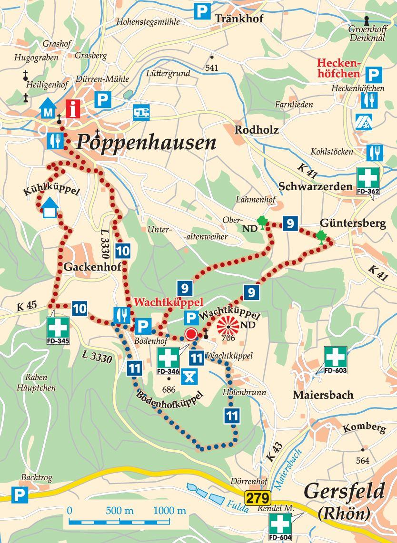 Rhön-Rundweg 10 Wachtküppel Karte