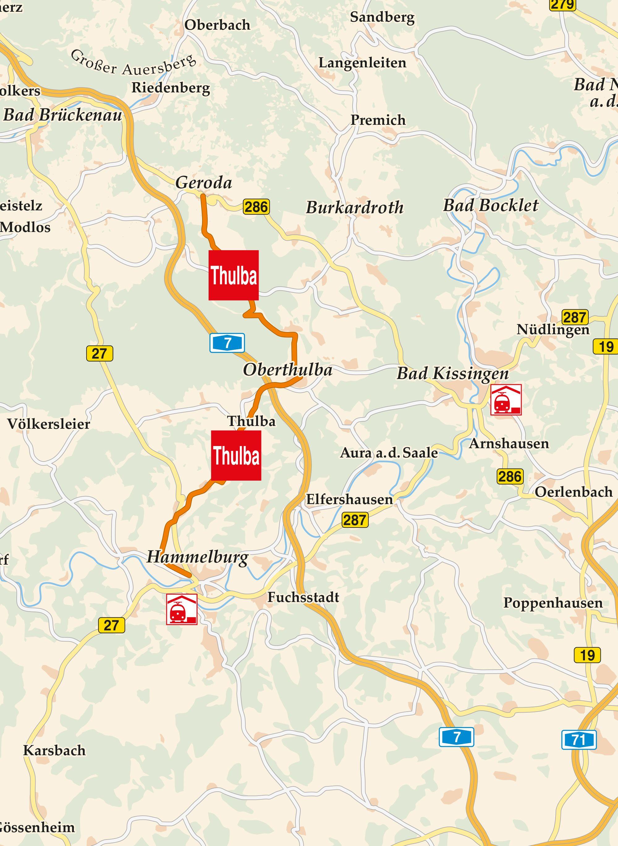 Thulba Radweg Karte