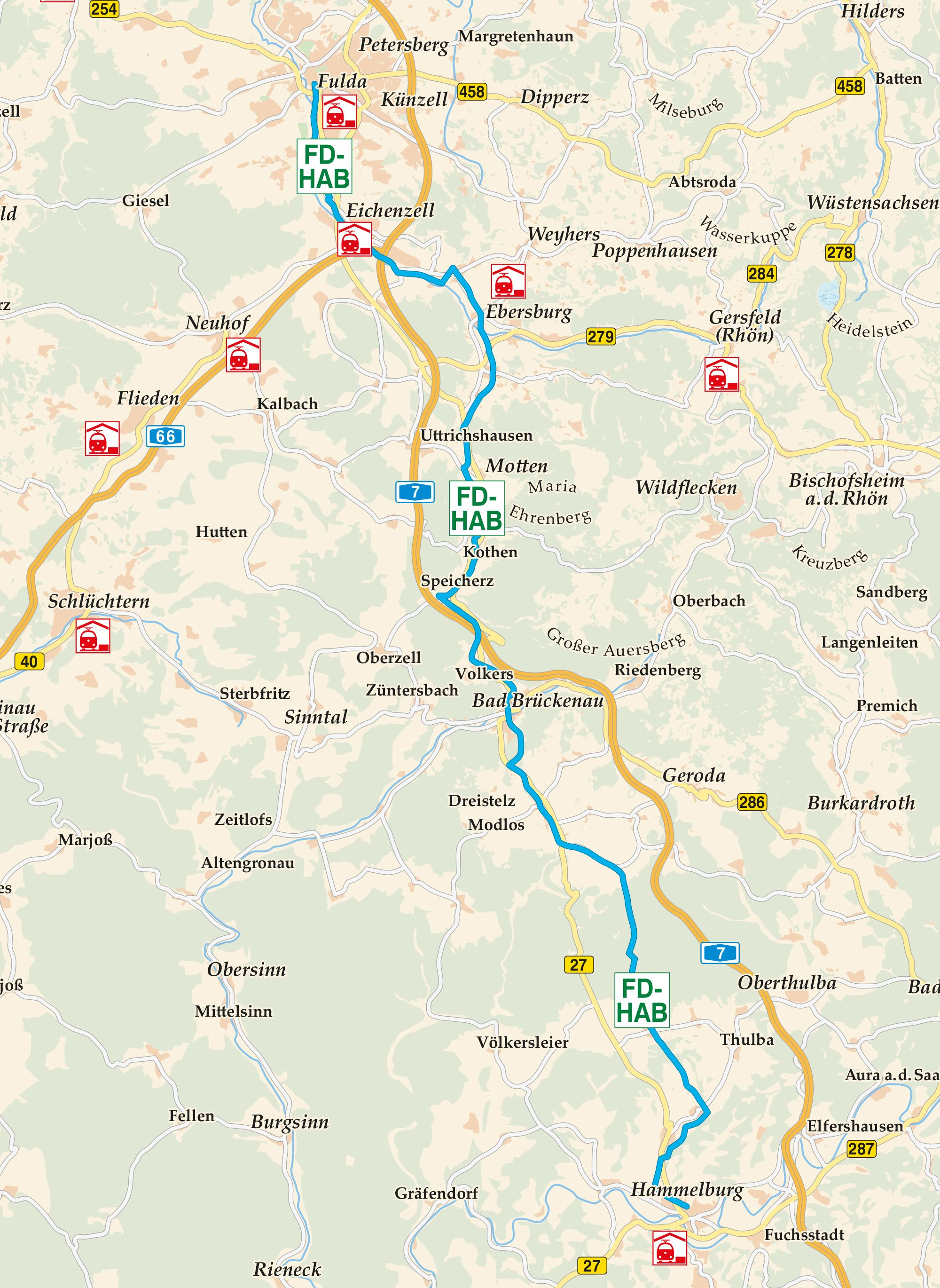 Fulda Hammelburg Radweg Karte