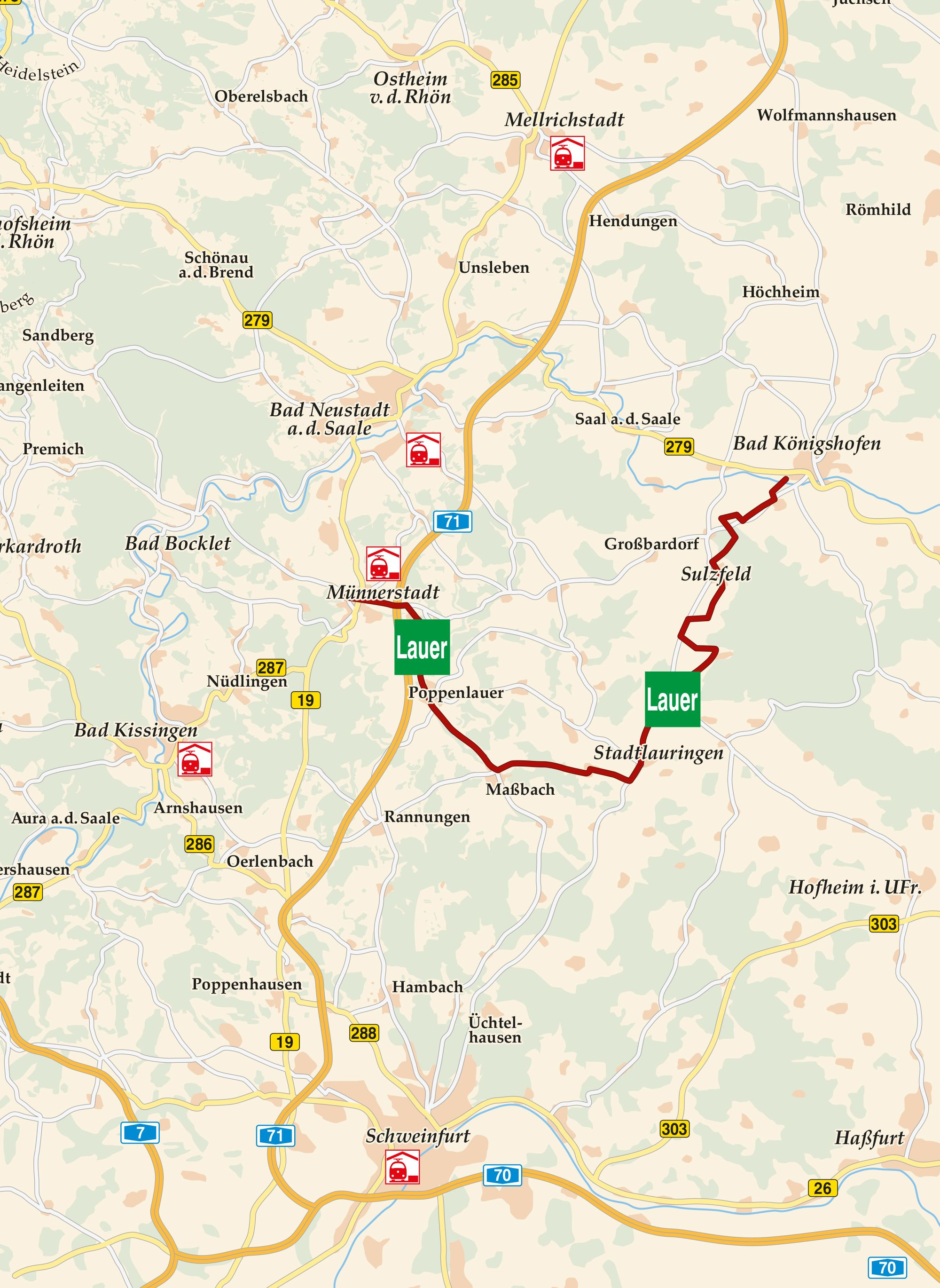 Lauertal Radweg Karte