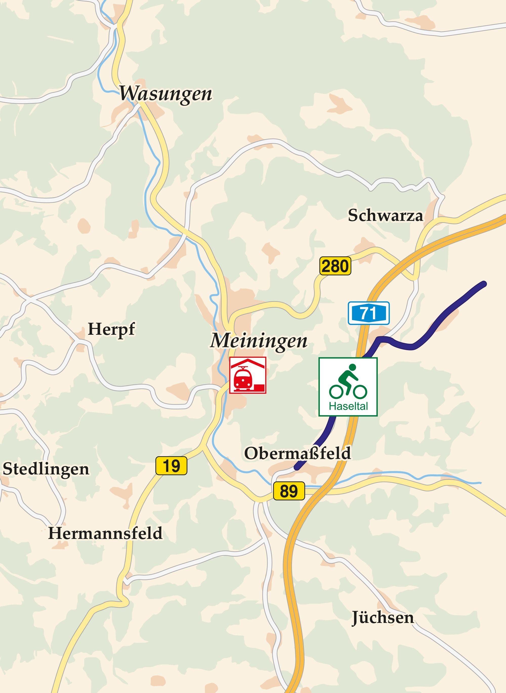Radweg Haseltal Karte