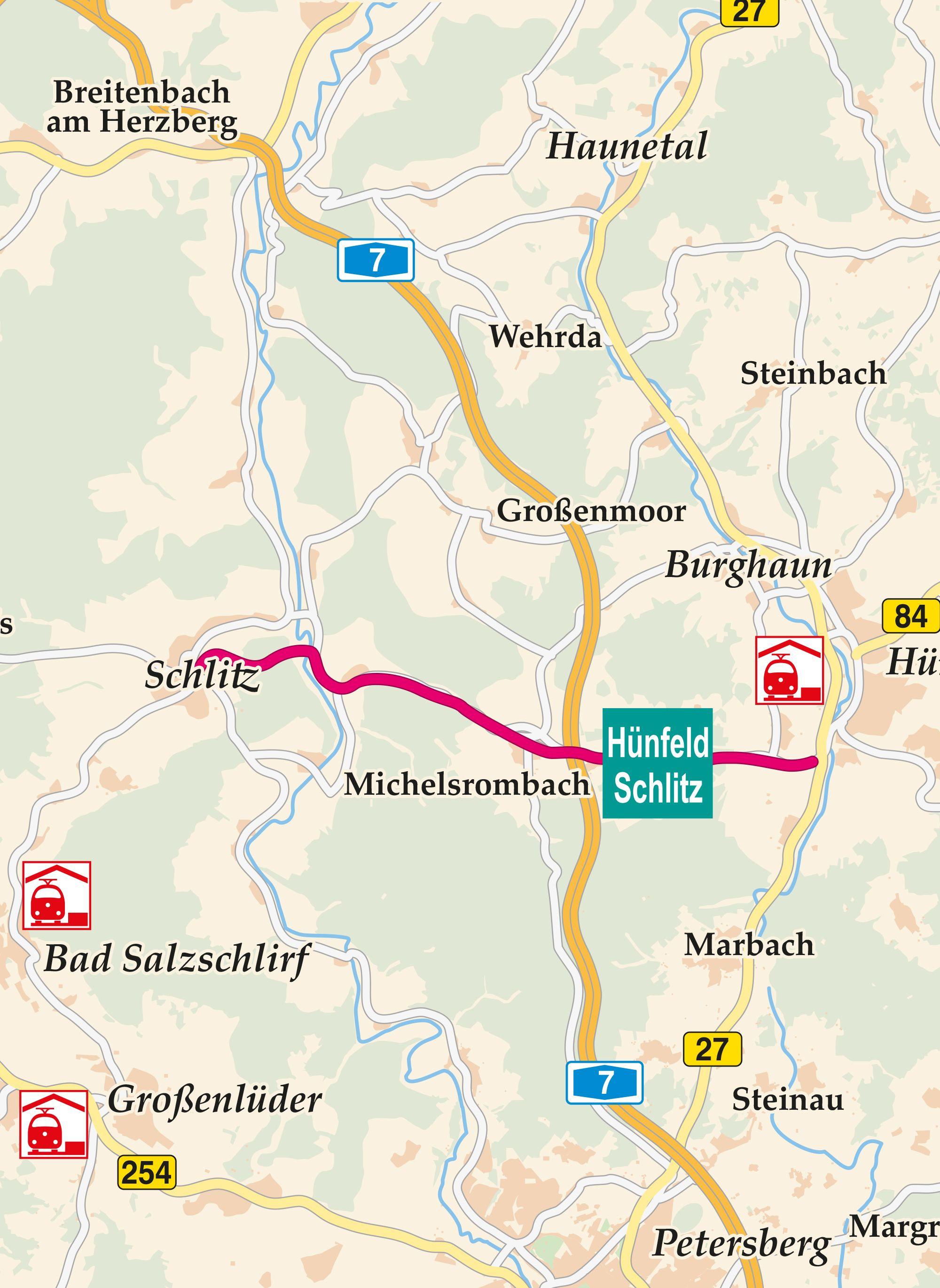 Hünfeld - Schlitz Radweg Karte