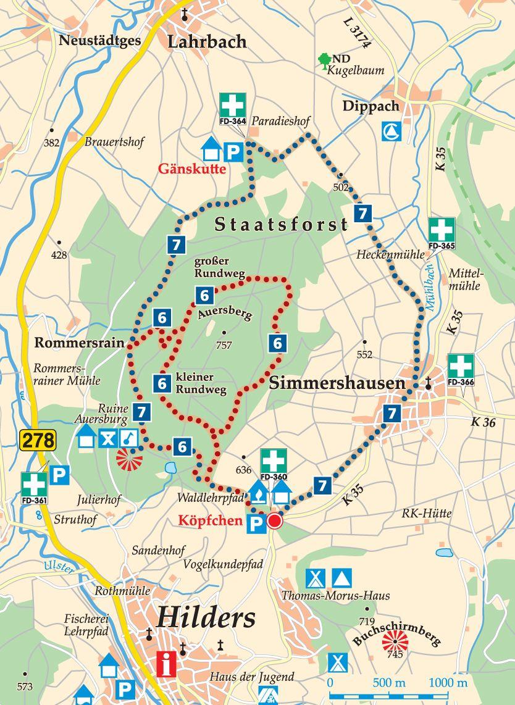 Rhön-Rundweg 7 Köpfchen Karte