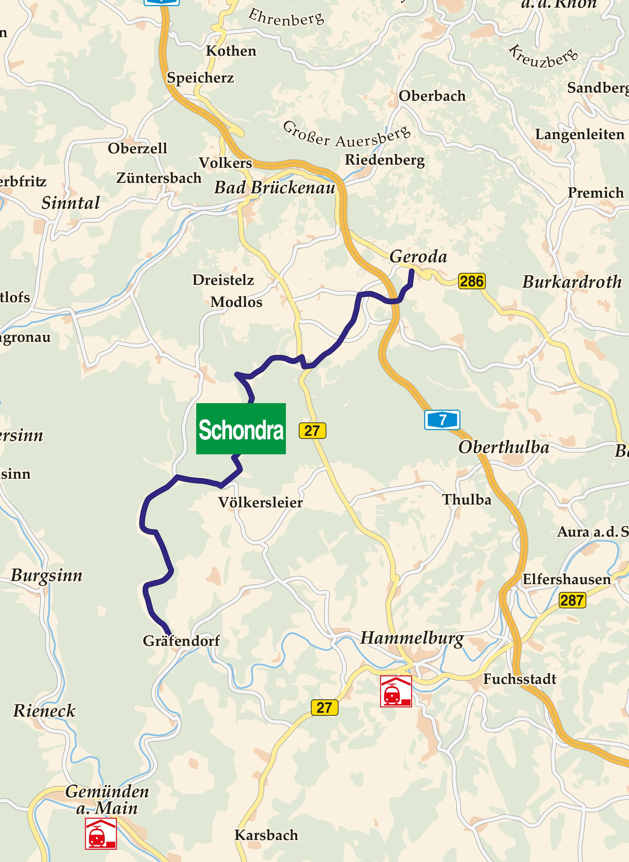 Schondratal Radweg Karte