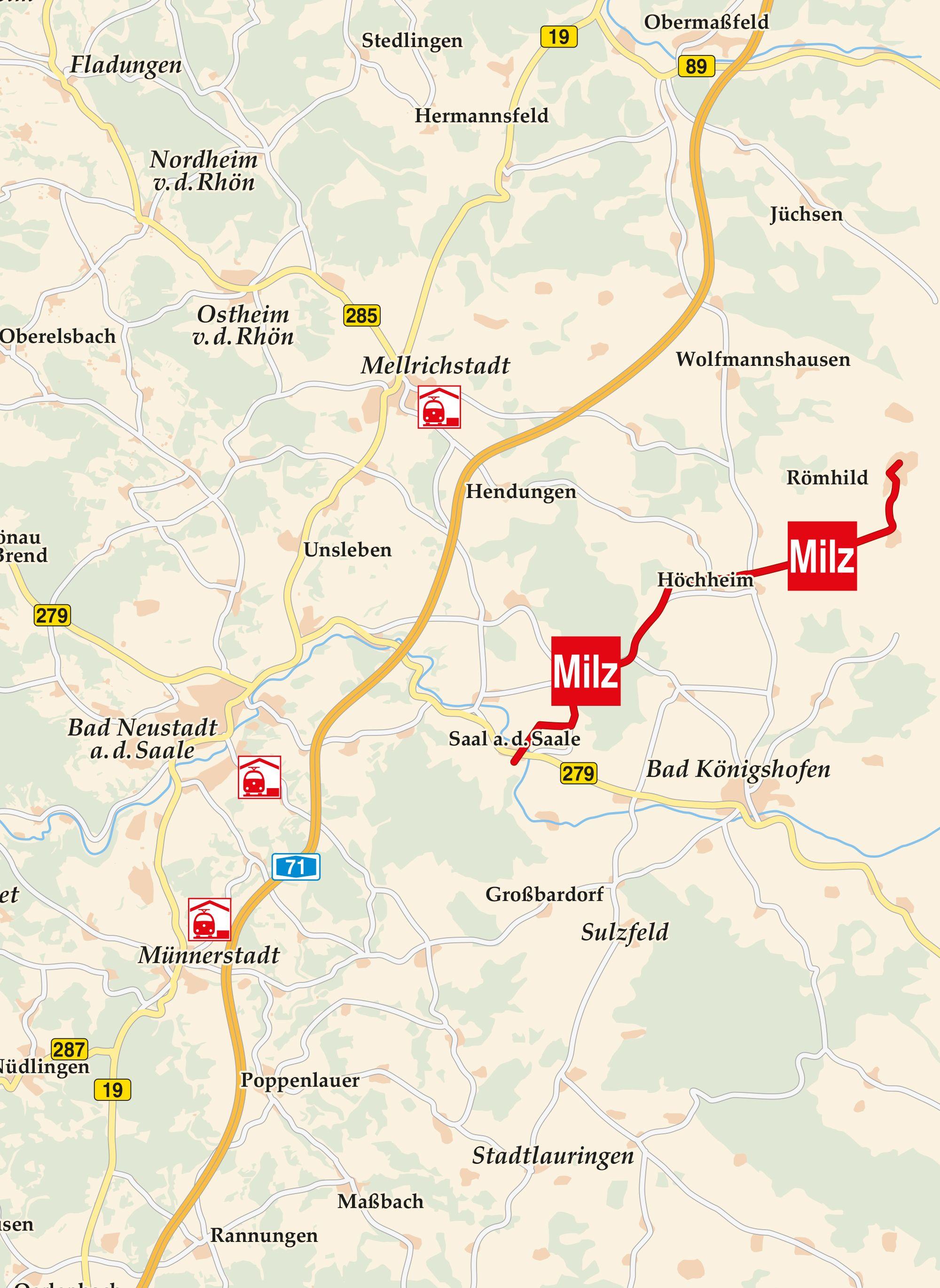 Milztal Radweg Karte