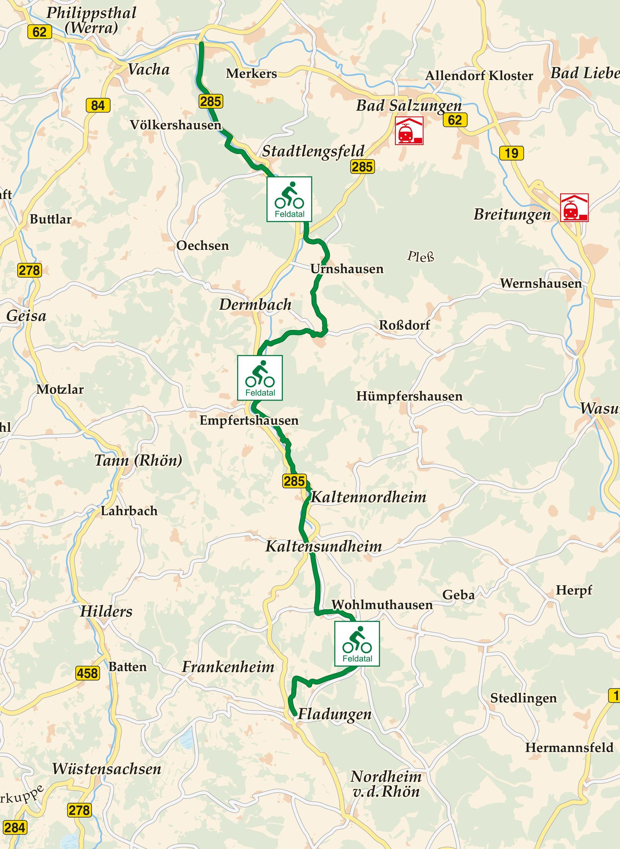 Feldatal Radweg Karte