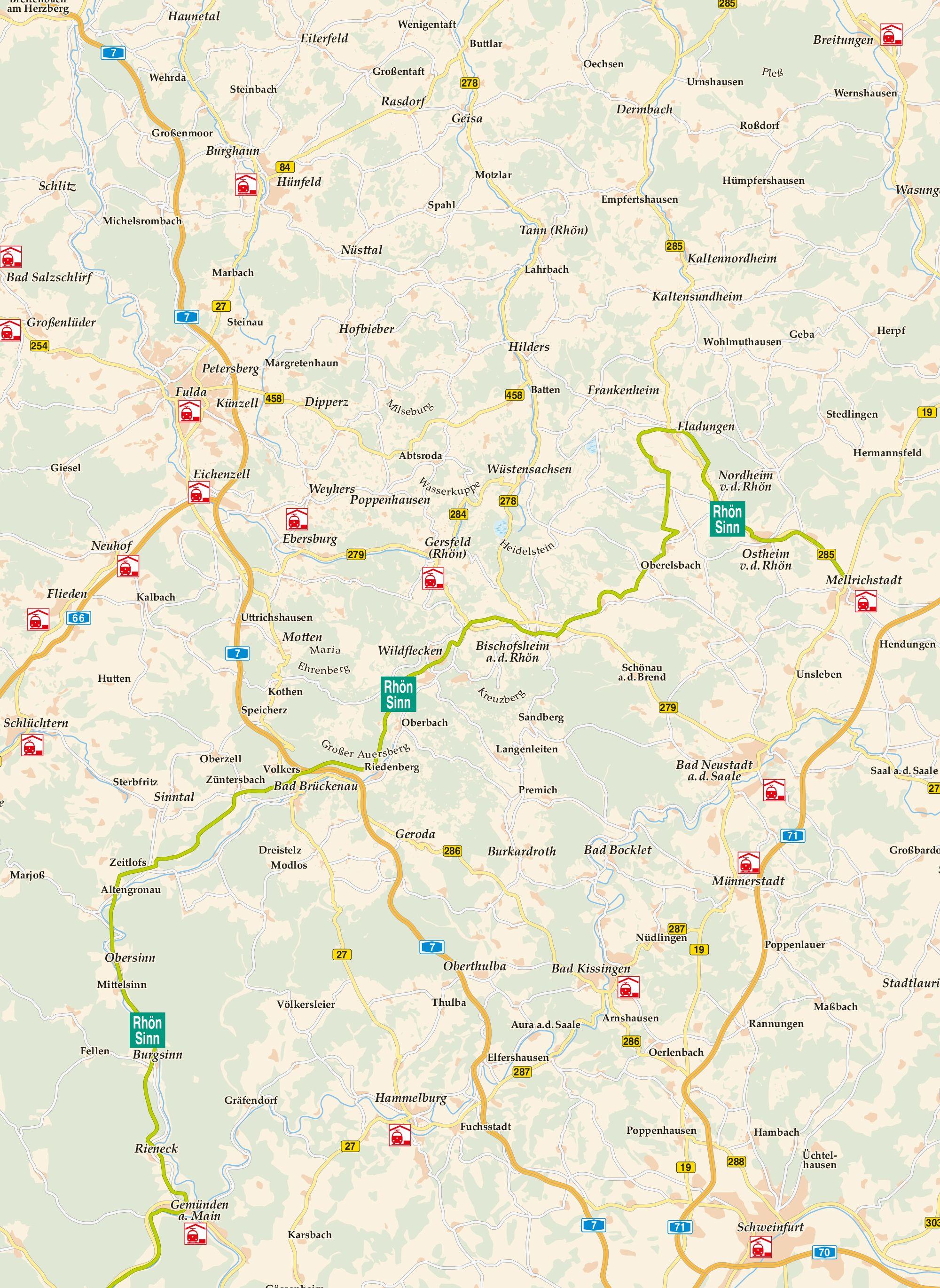 Rhön-Sinntal-Radweg Karte
