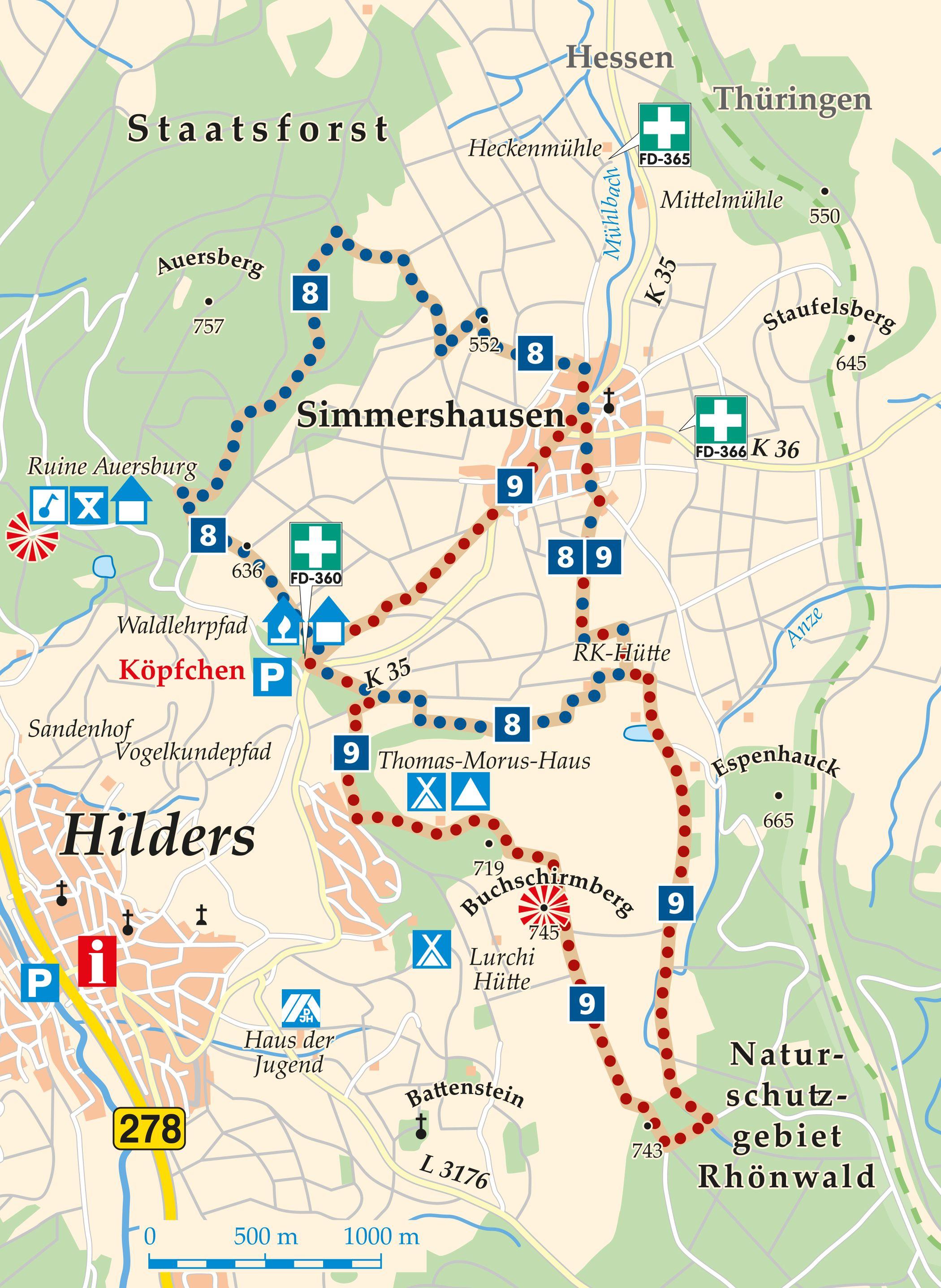 Rhön-Rundweg 8 Simmershausen Karte