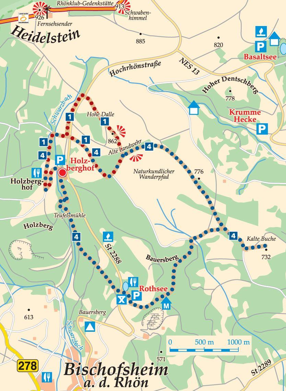 Rhön-Rundweg 4 Holzberghof Karte
