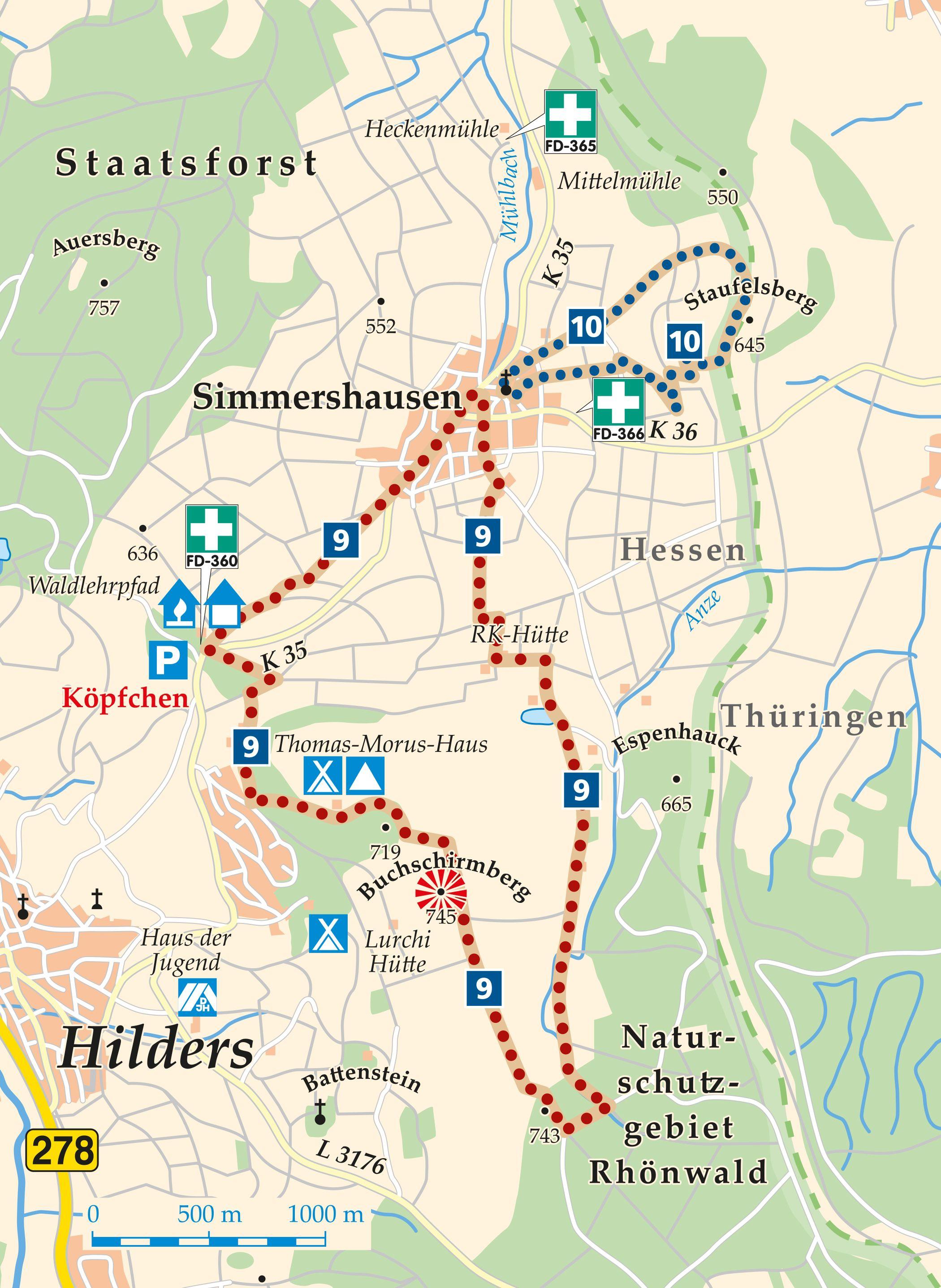 Rhön-Rundweg 10 Simmershausen Karte