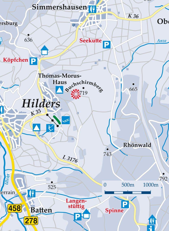 Skilift Buchschirmhang Hilders Karte