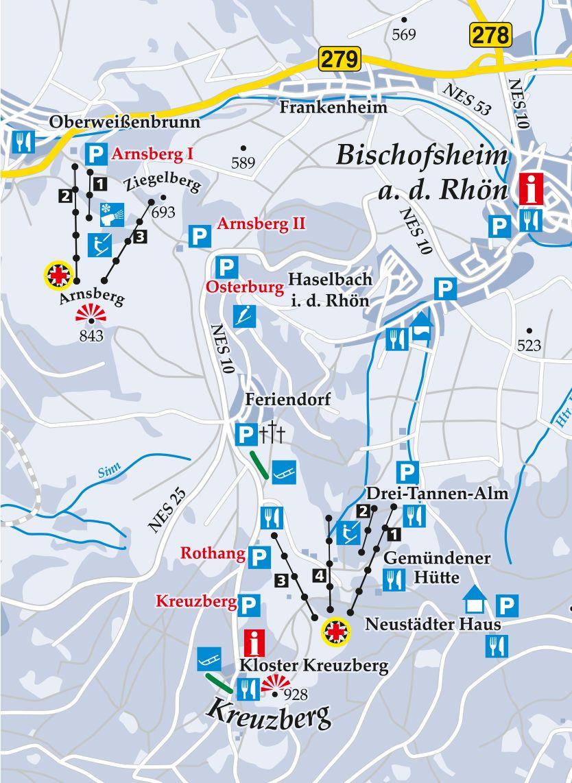 Skilift Dreitannenlift Kreuzberg Karte