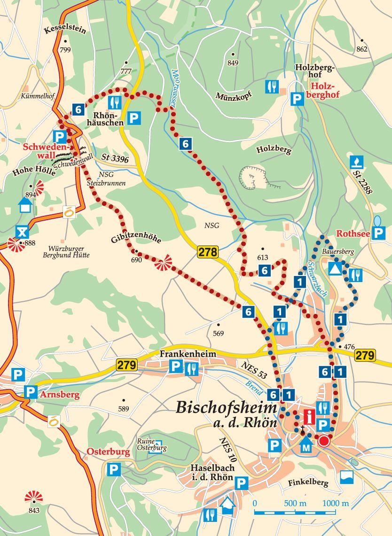 Rhön-Rundweg 6 Bischofsheim Karte