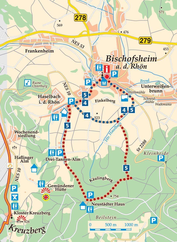 Rhön-Rundweg 4 Bischofsheim Karte