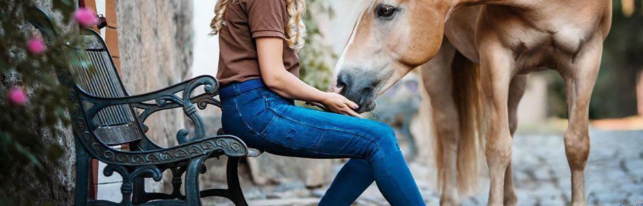 Jeansreithose mit Silikonkniebesatz