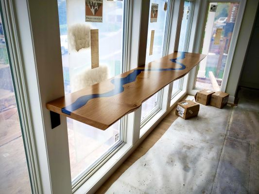 Wood Blue Epoxy Bar Top