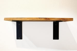 Wood Shelf and Metal Bracket Kit