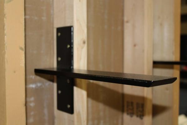 Heavy Duty Floating Shelf Bracket Mounted To Wood Wall Stud