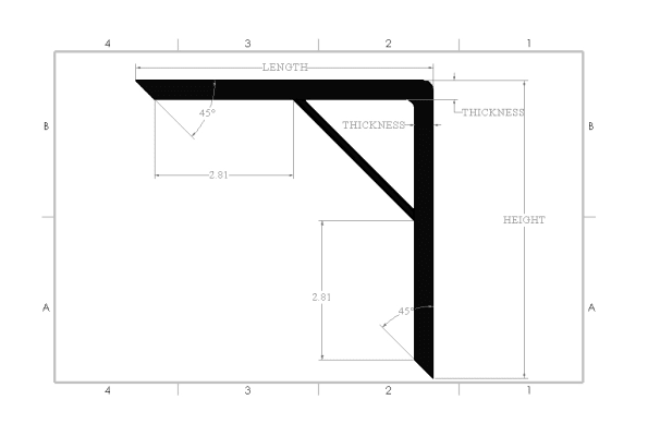 Reinforced Heavy Duty Metal Shelf Bracket