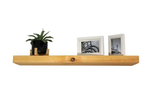 Light Wood Floating Shelf With Hidden Brackets