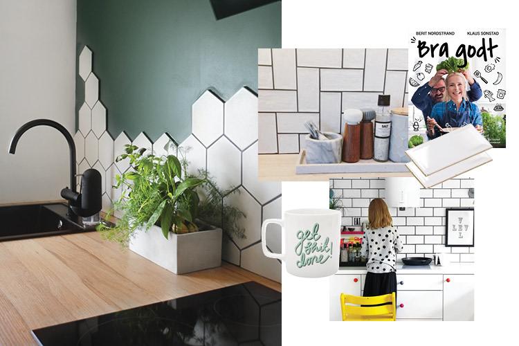Hvite hexagon fliser på kjøkkenveggen