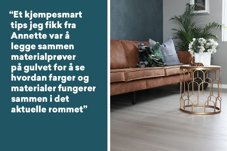 Marna sitt stue med parkett fra Right Price Tiles