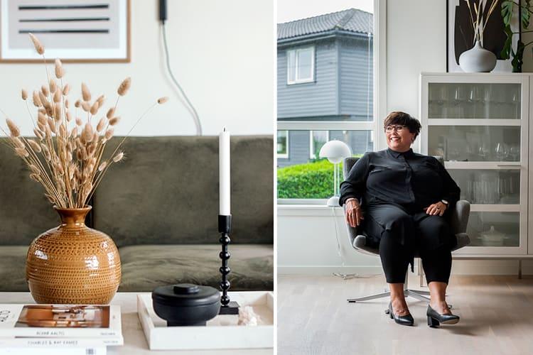 Bilde av Eva Næss i hjemmet sitt i Bergen